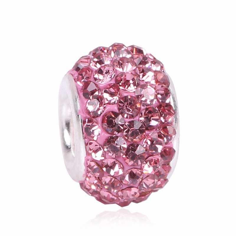 Ranqin 매력 비즈 핑크 실버 컬러 비드 맞는 브랜드 원래 팔찌 여성 쥬얼리 DIY 만들기 선물 럭셔리 여성 쥬얼리