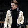 FREE SHIPPING 2017 Men White Genuine Fur Lined Leather Jackets Real Sheepskin Fur Plus Size 4XL Slim Fit Male Winter Fur Coat