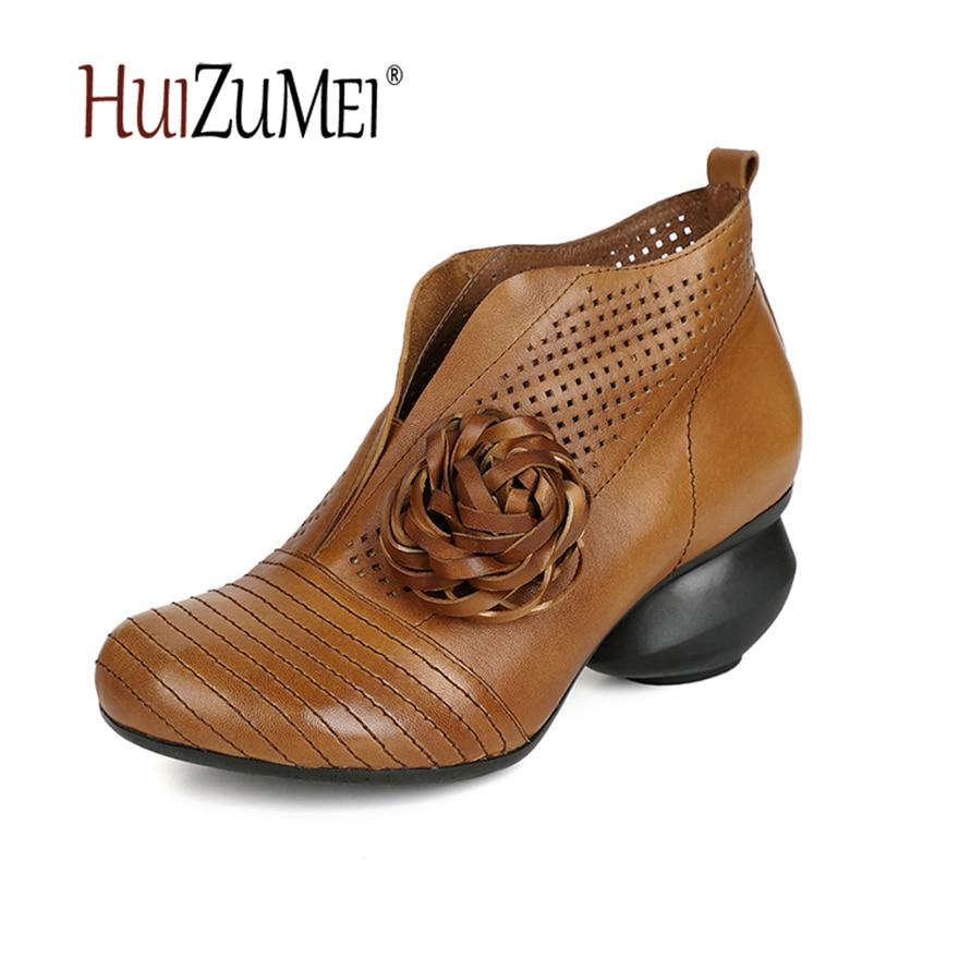 HUIZUMEI New genuine leather women's boots autumn shoes handmade original retro round toe original leather ladies boots huizumei new genuine leather women s