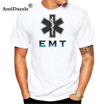 Men's T Shirt Cotton o-neck Emt Paramedic Emergency Medical Services Front & Back Men's cotton Tee-shirts