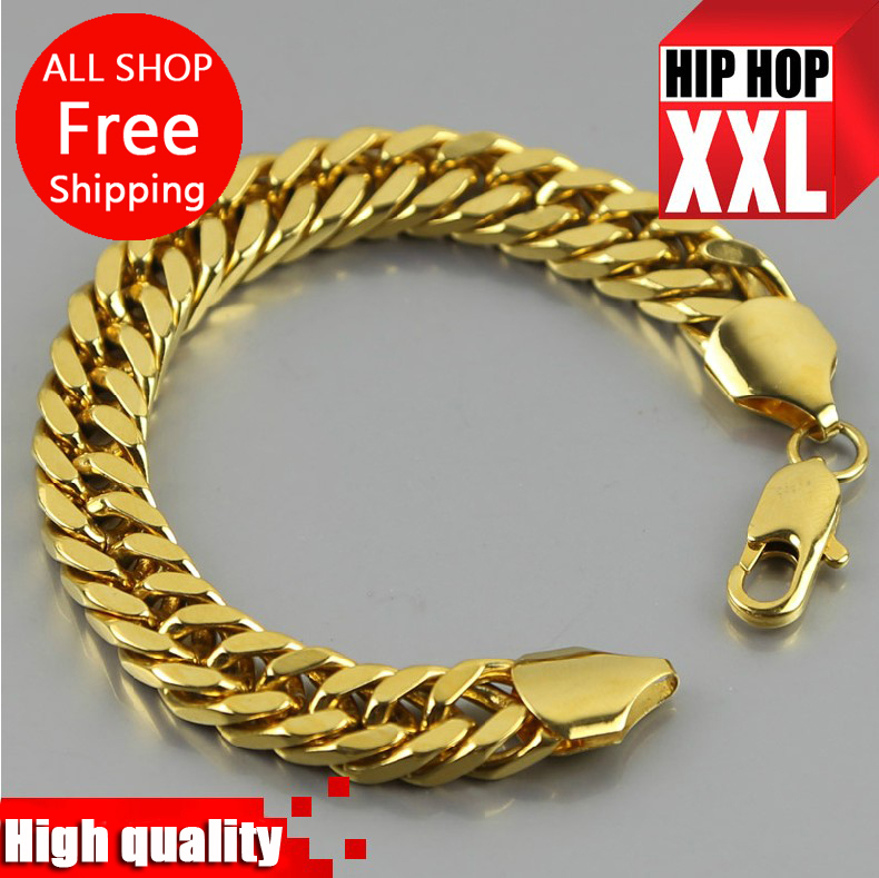 JHNBY Gold color cuban link chain 21cm Long High Quality franco chain Fashion Hiphop men bracelet