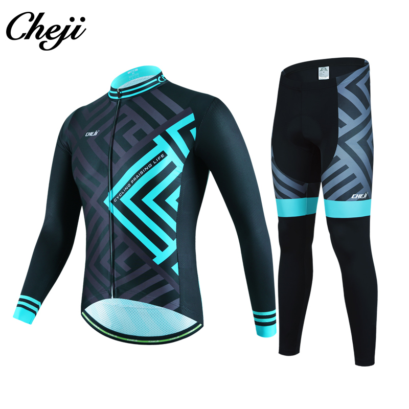 Customzied Pro Team Cycling Jersey Long Sleeve Set Spring Autumn Breathable Men's Bicycle Wear Long Bib Pants Bike Clothing 3d silicone cube 2012 team long sleeve autumn bib cycling wear clothes bicycle bike riding cycling jerseys bib pants set