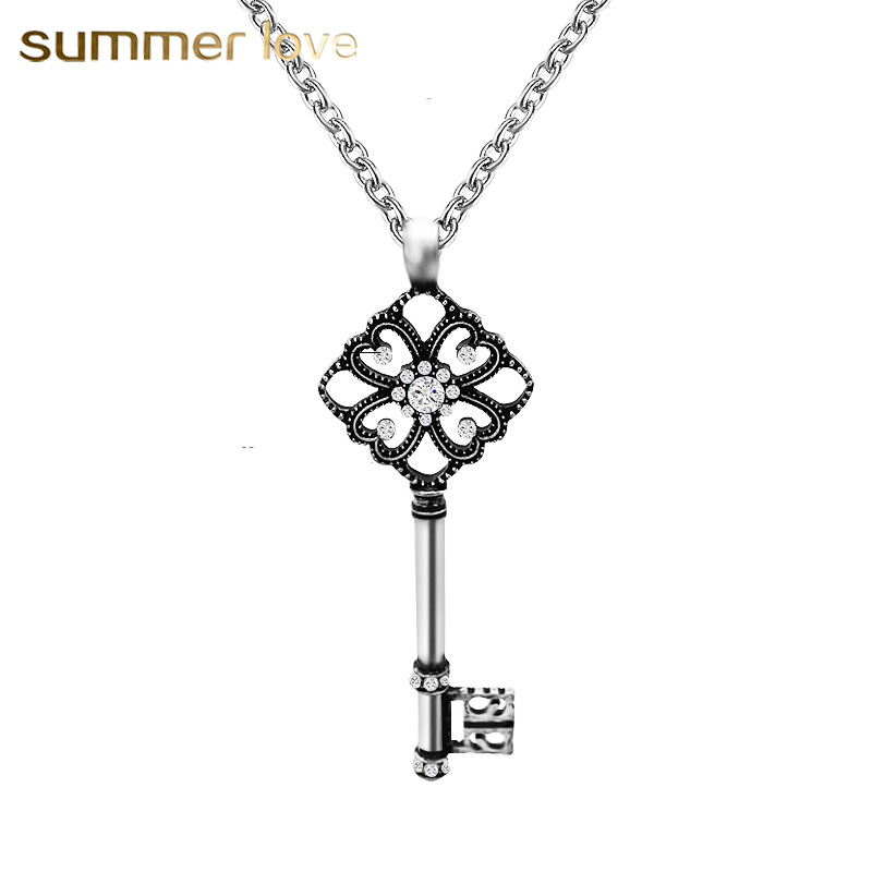 crystal key pendant necklaces for women long chain charm crystal key pendant necklaces for women long chain charm necklace statement jewelry gift vintage goldsilver collier femme 2018 aloadofball Image collections