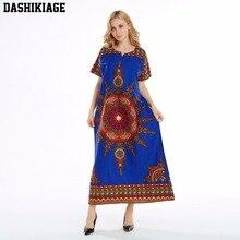 Dashikiage 100% Cotton New Arrival Blue Womens African Sun Print Dashiki Stunning elegant Ladies Dress