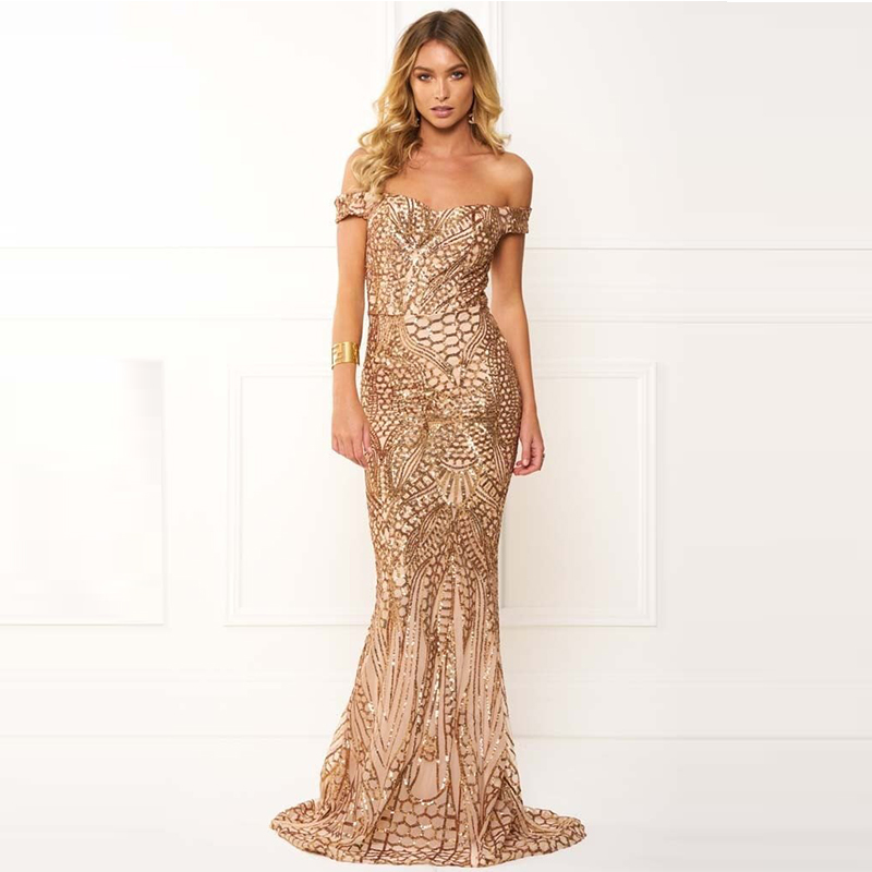 Summer Stretch Sequined Party Dress Off The Shoulder Shiny Geometric Gold Sequin Maxi Dress Tight Elegant