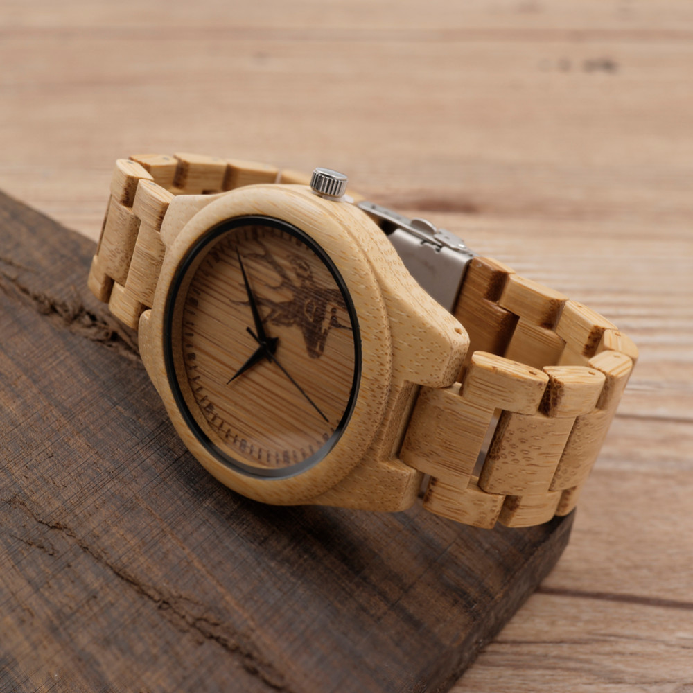 aismei product quartz deer mens bamboo head buck watch watches leather with box luxury wooden design