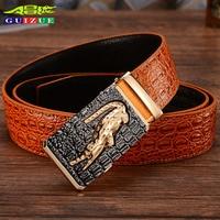 GUIZUE Crocodile Hommes Genuine Leather Belt Men 2017 Famous Brand Belts High Quality Metal Buckle Strap