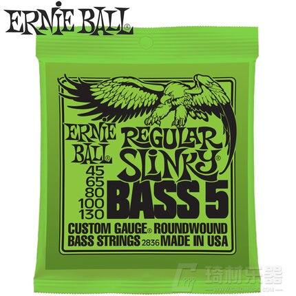 Ernie Ball 2836 Régulière Slinky 5-Chaîne Nickel Wound Basse Électrique Cordes 45-130