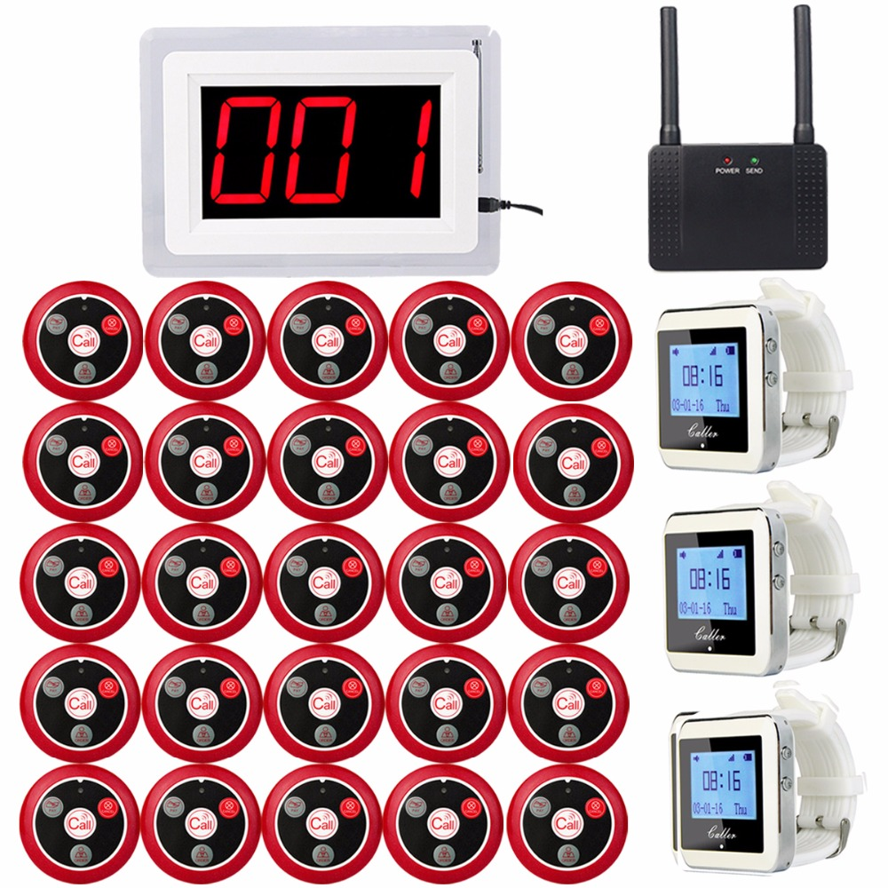Wireless Calling System for Restaurant 1pcs Receiver Host +3pcs Watch Receiver +1pcs Signal Repeater +25pcs Call Button F3285C wireless table call bell system k 236 o1 g h for restaurant with 1 key call button and display receiver dhl free shipping