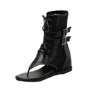 SAGACE Roma, botas de Punta abierta para mujer, zapatos sexis de alta calidad Outsid para mujer, sandalias altas, Hebilla negra de verano, zapatos de Tanga geniales