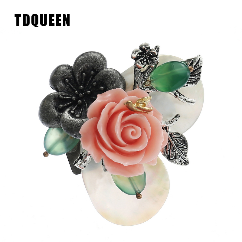 TDQUEEN Brooches Natural Shell Vintage Broches Antique Silver Plated Pink Coral Camellia Flower Big Pins and Brooches
