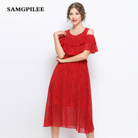 2019 New Casual A line Solid Short Sleeve Draped Knee length Off The Shoulder O neck Summer Women Dress Plus Size L 5X