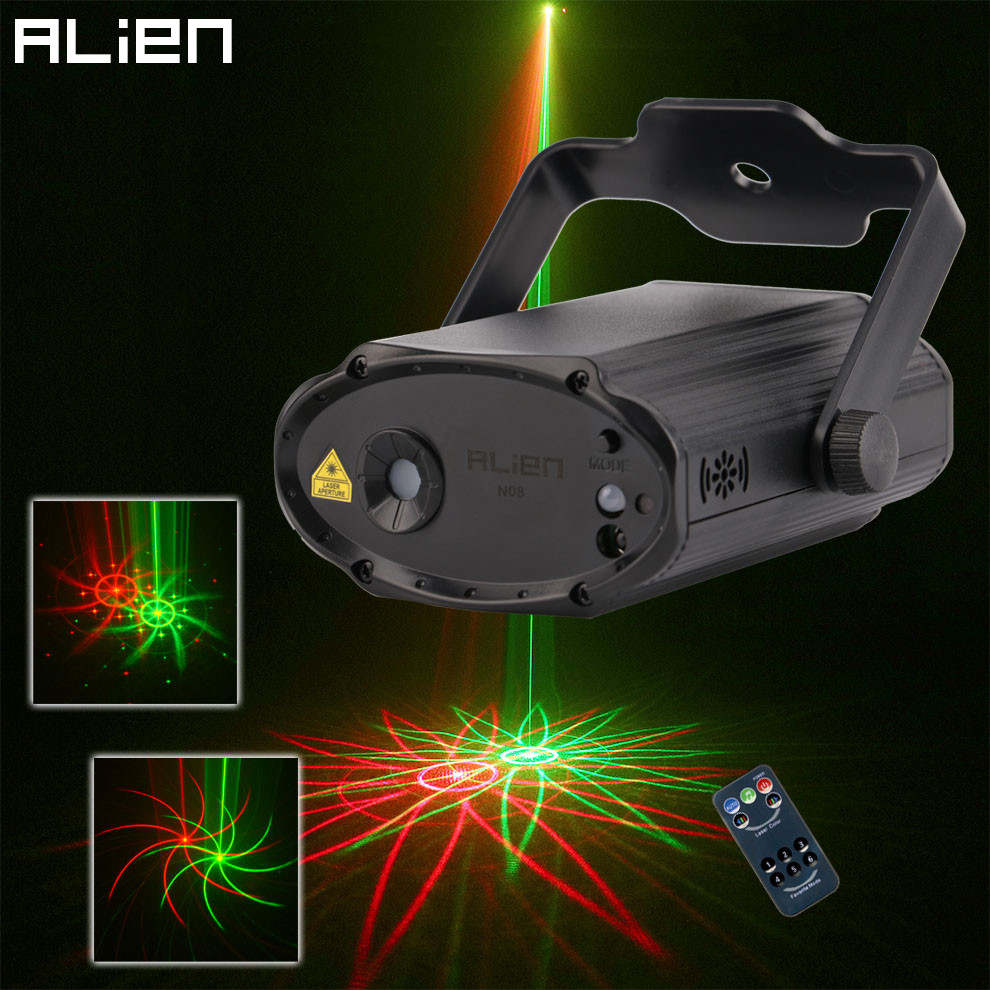 ALIEN Remote RG 8 Patterns Mini Laser Light Projector DJ Disco Party Holiday Xmas Dance Sound Activated Stage Lighting Effect rg mini 3 lens 24 patterns led laser projector stage lighting effect 3w blue for dj disco party club laser