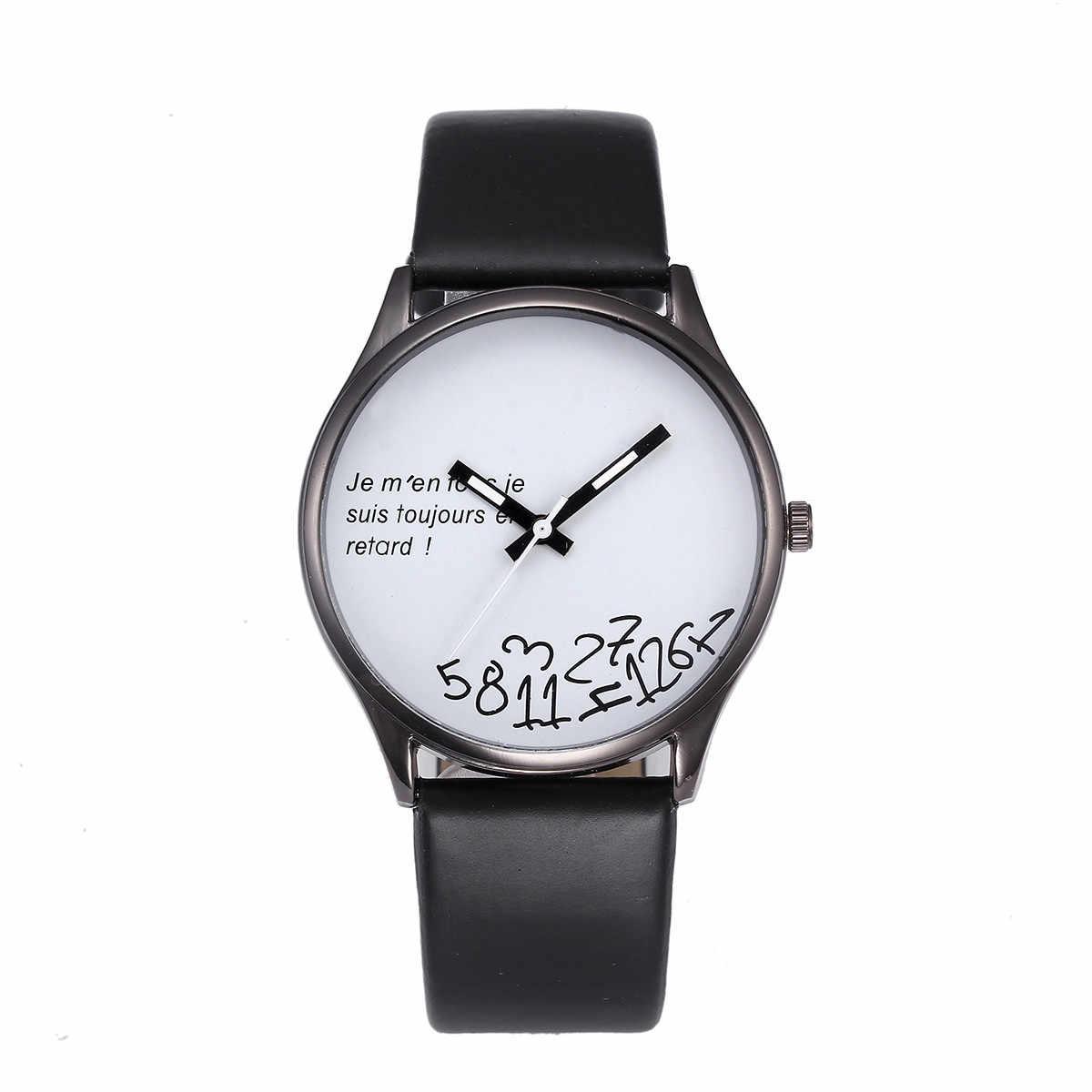 Mode hommes montre rétro Design numéro de fête cadran bracelet en cuir PU minimalisme Quartz montre-bracelet relojes hombre heren horloge