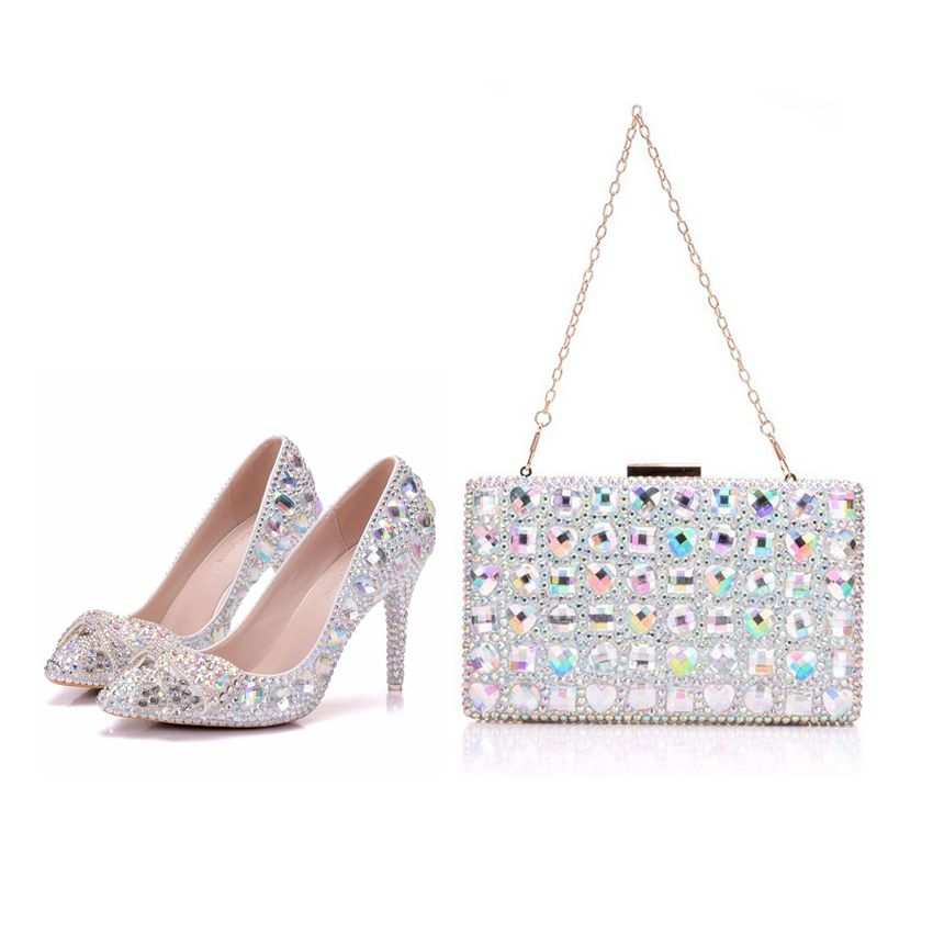 Crystal Queen High Heel Pointe Toe Women Wedding Shoes With Matching Bags Bride Payty Dress Shoes Purse Crystal Bow 9CM PumpsCrystal Queen High Heel Pointe Toe Women Wedding Shoes With Matching Bags Bride Payty Dress Shoes Purse Crystal Bow 9CM Pumps