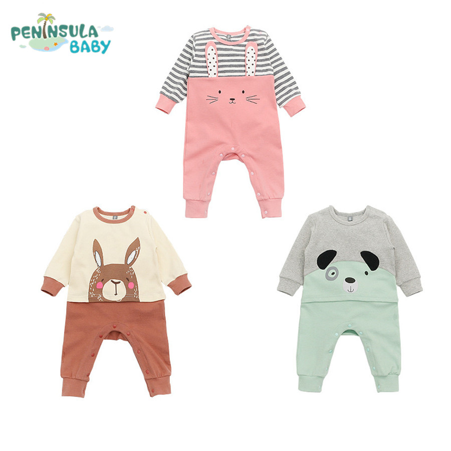 Fashion Brand Newborn Baby Clothing Spring Long Sleeve Wool Baby Rompers Cartoon Animals Girls Clothes Infantil Boys Costumes newborn baby clothing spring long sleeve cotton baby rompers cartoon girls clothes roupas de bebe infantil boys costumes