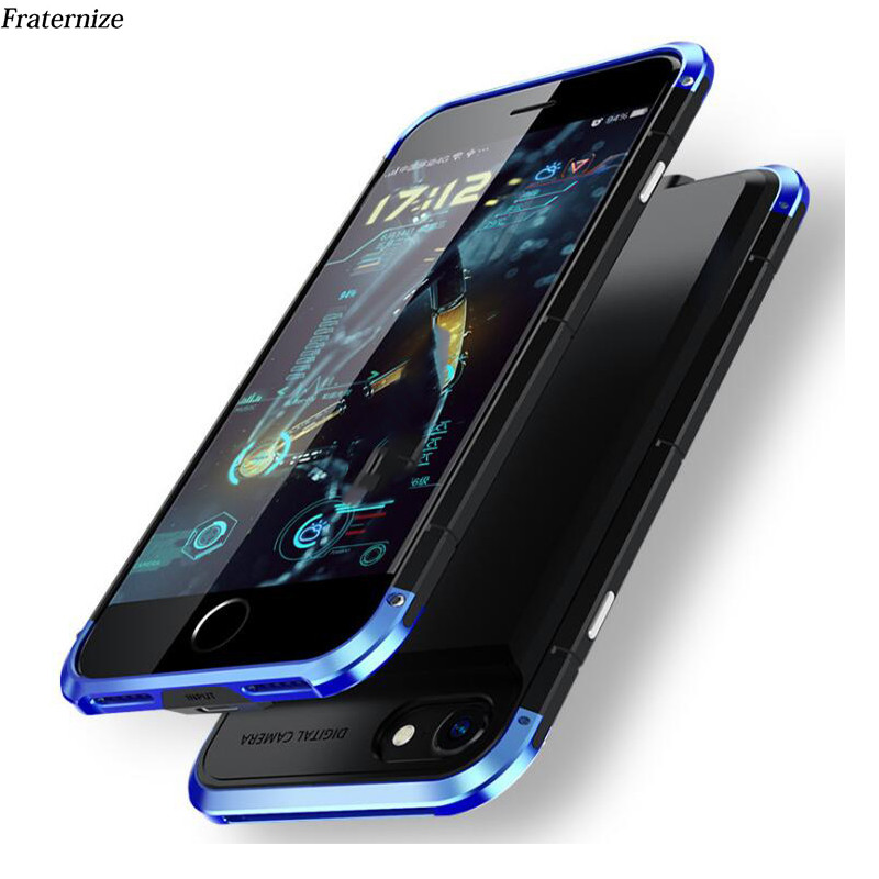 Aluminum shockproof Battery Charger Case For iPhone 6 6S 7 8 Plus 5000mAh Power Bank Charing Cases Backup Silicone Back Cover