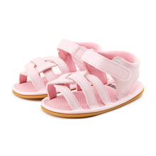 Delebao 2018 Summer New Design Baby Gilr Sandal Solid Pink Cross Striped Hook & Loop Rubber Sole Baby Shoes For 0-18 Months