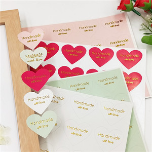 """100 Pcs """"Hand made with Love"""" Kraft Paper gold stamping Seal Stickers For Handmade Products DIY Bakery Label Adhesive Sticker(China)"""