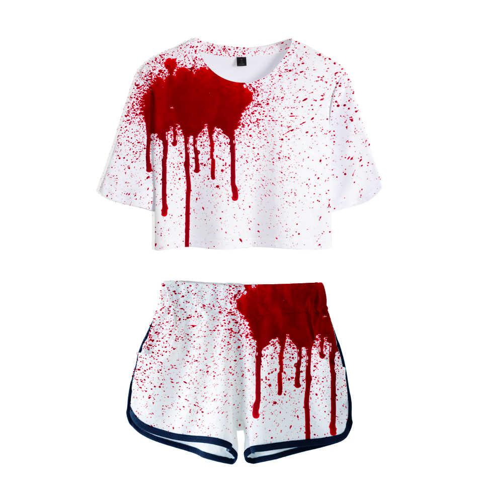 ליל כל הקדושים לדמם מכנסיים וחולצות נשים שתי חתיכה סטי מצחיק דלעת פנים הדפסת יבול למעלה מקרית בגדי 2XL