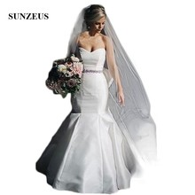 Sunzeus Backless White Satin Wedding Dresses Mermaid 2019