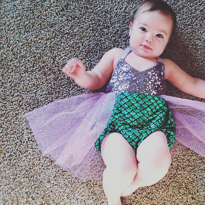 Princess Baby Girl Little Mermaid Sequins Bikinis Swimwear Costume Summer Beach