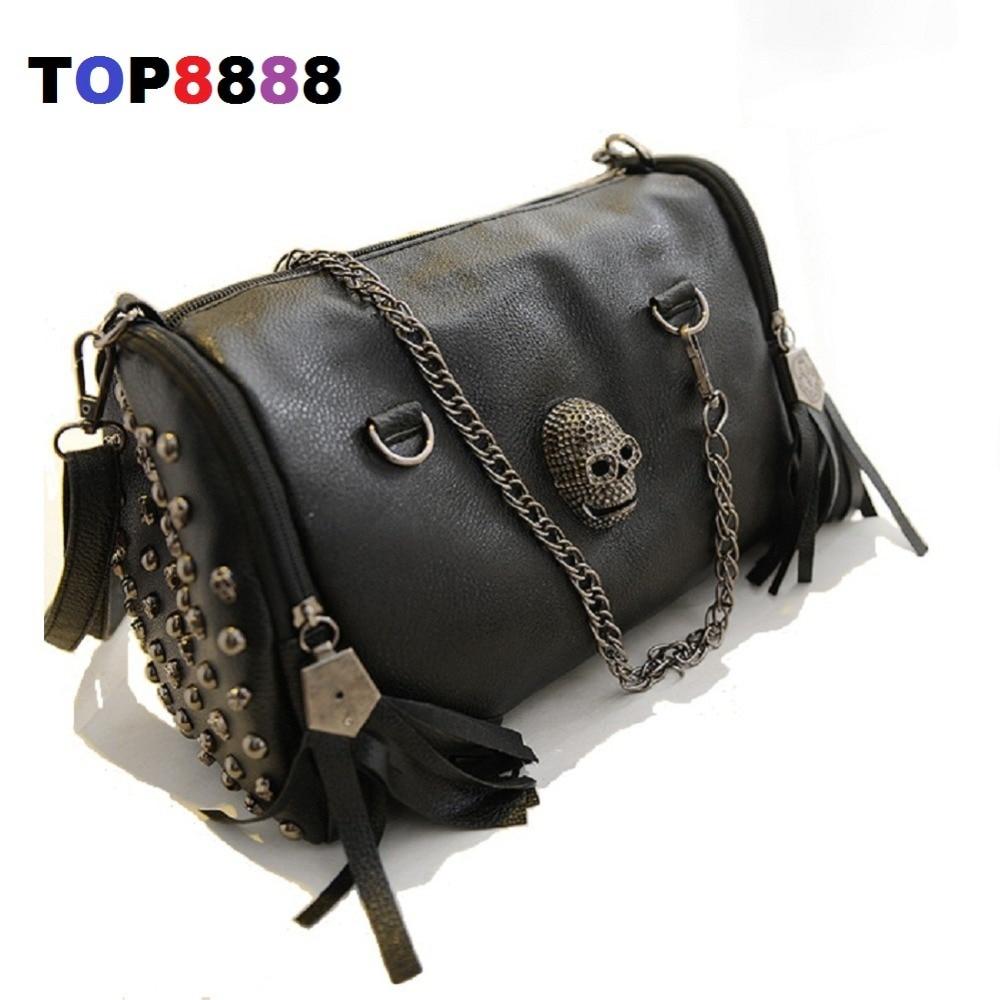2017 Unique Black Bags  Cool Lady Rivets Vintage Shoulder Bag Casual Women Skull Handbags Fashion Tassel Messenger Bags H143-2