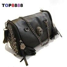 2017 einzigartige Schwarz Cool Lady Nieten Vintage Umhängetasche Lässig Frauen Schädel Handtaschen Mode Quaste Messenger Bags H143-2