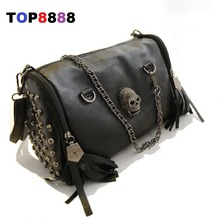 2017 Unique Black Bags  Cool Lady Rivets Vintage Shoulder Bag Casual Women Skull Handbags Fashion Tassel Messenger Bags H143-2