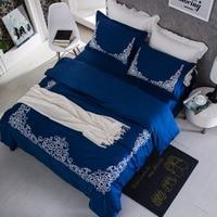 2017 Bohemia Del Lecho 4 Unids bordado de Matrimonio Funda Nórdica Bedsheet Funda de Almohada de algodón Egipcio ropa de Cama de La Venta Caliente
