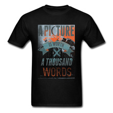 лучшая цена Quote T-shirts Special Men T Shirt Thanksgiving Day Gift Tops TShirt A Picture Is Worth A Thousand Words Vintage Tee 80s Clothes