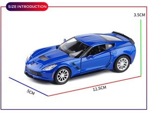 Image 4 - 1/36 C7 Metal Diecast Cars Toy With Pull Back Alloy Car Model Vehicle Miniature For Birthday Kids Toys Gifts