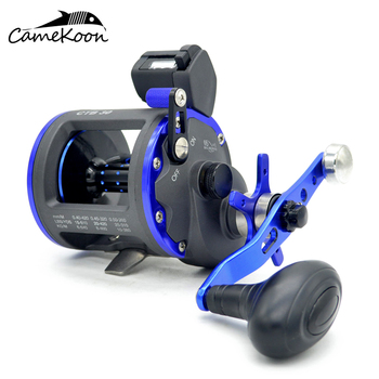 CAMEKOON Star Drag Saltwater Fishing Reel with Line Counter 6+1 Bearings Smooth Level Wind Trolling Reel