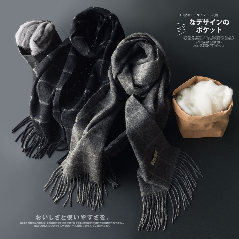 Luxury Real Cashmere Men   Scarf   Gifts Box Set Boyfriend's Christmas New Year Gift Plaid Scarfs cashmere Shawls   Wrap   for Men Males