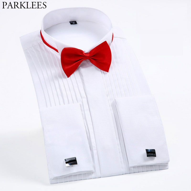 Men's Slim Fit Wingtip Collar French Cufflinks Shirt Bridegroom Wedding Tuxedo Male Brand Shirt (Bowtie&Cufflinks Included) 6XL