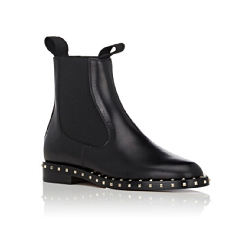 Genuine Leather Black Cowhide Ankle Boots Womens Shoes Rivet Metal Buckle Chelsea Boots Women Luxury Shoes Women Designers aercourm a 2017 ankle boots women genuine leather shoes cowhide high heel shoes metal buckle brand shoes women zippe boots z958