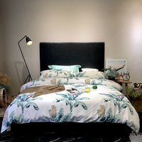 2019 New Spring Long Staple Cotton Banana Leaf Bedding Set Double Bed Sets Size Duvet Cover+Bed Sheet+Pillowcases
