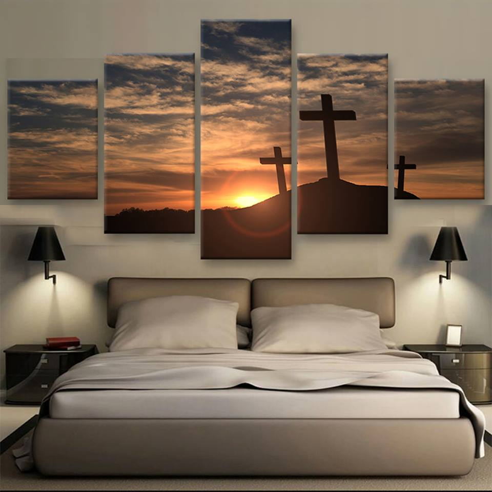 5 panels print crosses at sunset painting modern home for Modern home decor wall art