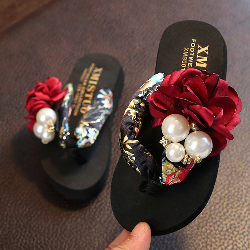 Girls Beach Slippers Women Floral Slippers Children Home Shoes 2019 Summer Comfortable Kids Fashion Casual Flip-flops Sandals