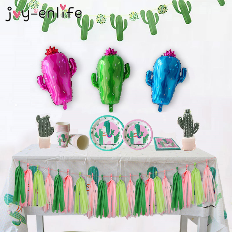 Alpaca Birthday Party Decorations Llama Cactus Paper Garland Banner Plates Cups Napkin Balloons Baby Shower Kids Party Supplies