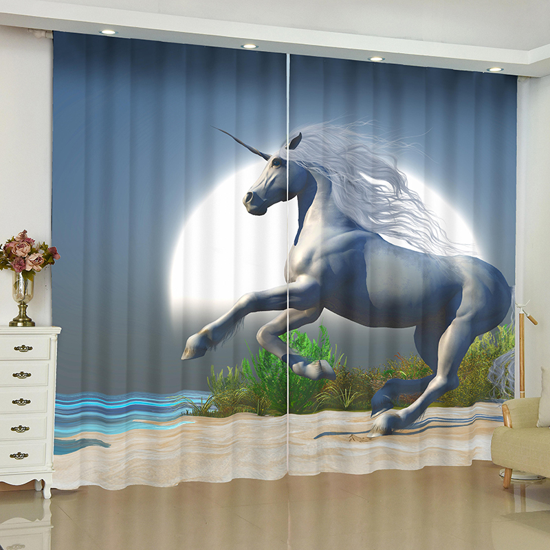 Image 4 - unicorn curtains for window unicorn Pegasus White horse blinds finished drapes window blackout curtains parlour room blinds-in Curtains from Home & Garden