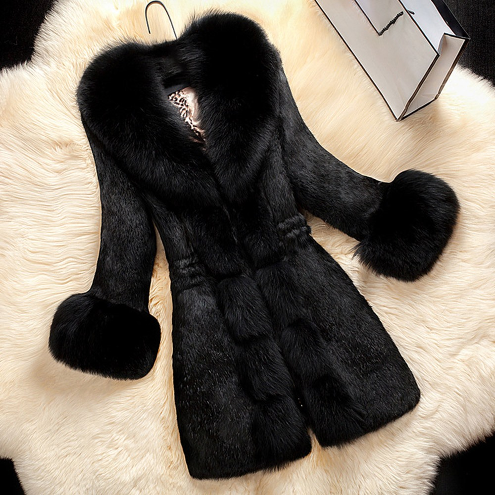 Sisjuly Women Winter Coat Faux Fur Thick Warm OL Elegant Black Long Outwear Solid 2018 Fashion Chic Female Overcoat For Girl
