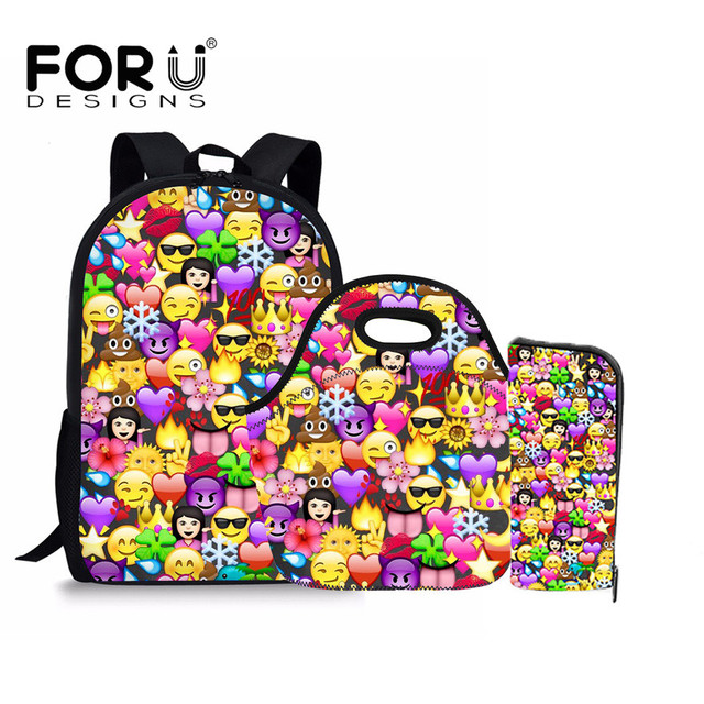 a12f68a8c72 FORUDESIGNS Satchel Schoolbag Funny Emoji Printed Teenage Girls School  Backpacks Orthopedic Children Kids Gift Backpack Mochila