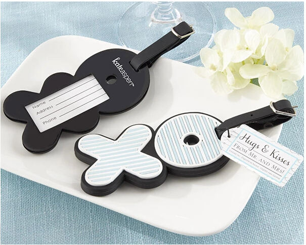 Retail 10pcs/lot Airplane Luggage Tag Mr. & Mrs. X O Wedding Party Gifts OPP Bag Packaging