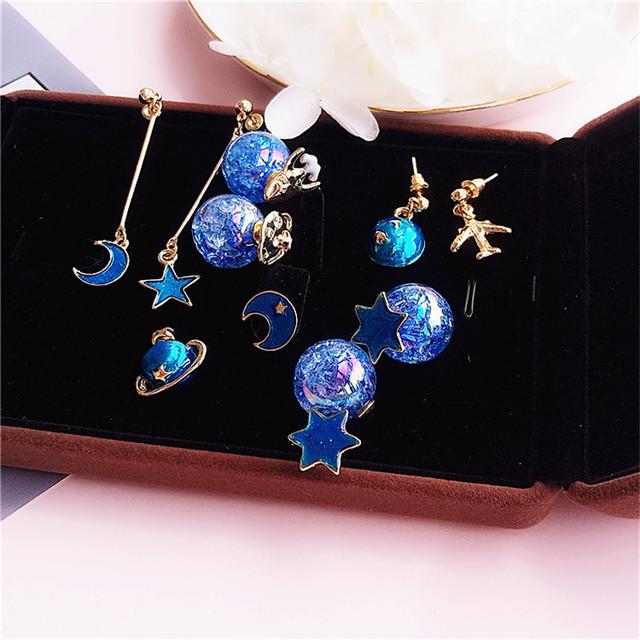 Doreen Box Fashion Women Stud Earrings Starry Sky Blue Planet Moon Aircraft Style Series