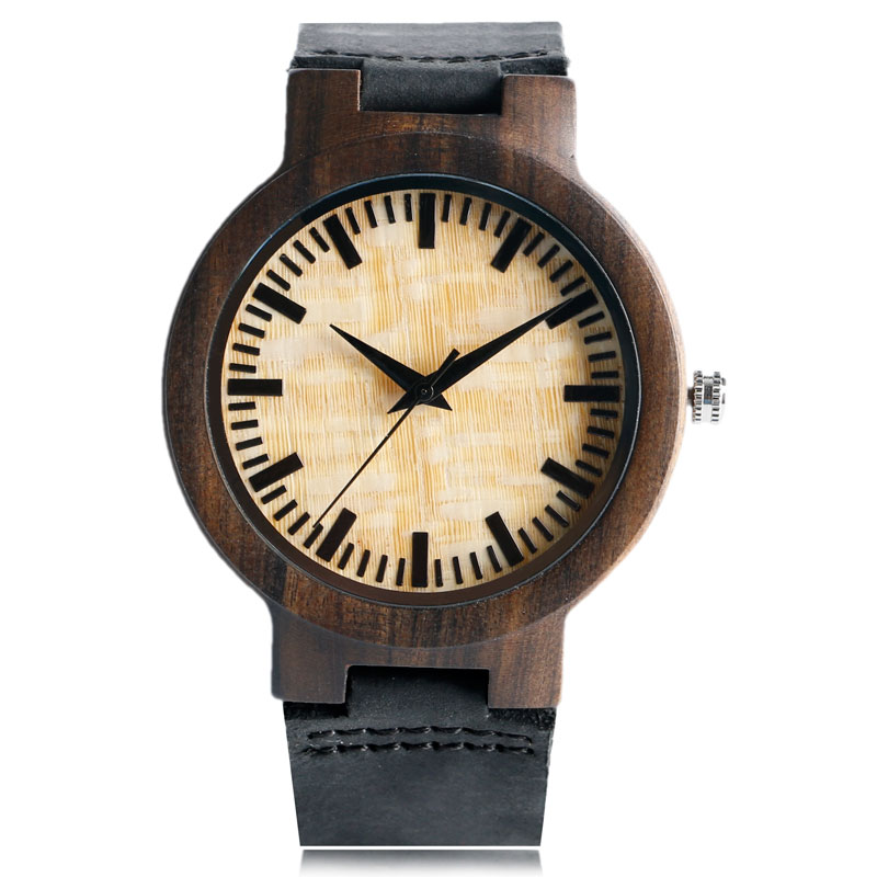 Simple Nature Wood Bamboo Pattern Genuine Leather Band Wrist Watch Black Strap Women Men Bangle Quartz Analog Wooden Gift