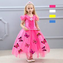 Fantasia Child Princess Dress Girls Birthday Party Costume Kids Fancy Cinderella Sleeping Beauty Aurora Belle Butterfly
