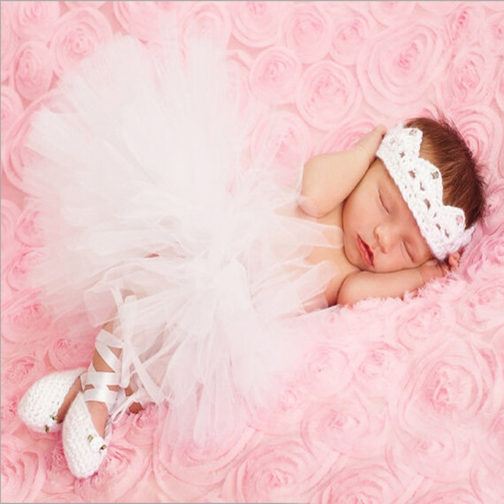 Fotoshooting Neugeborene Baby Kostüm Tütü Stirnband Foto weiß rosa Prinzessin