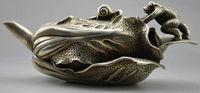 정교한 중국어 소장 장식 된 오래 된 세공 티베트어 실버 개구리 양배추 길조 차 냄비