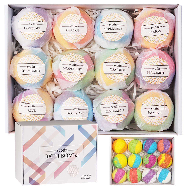 12 Pcs Natural Spa Essential Oil Bath Bombs Ball Set for Girlfriends Women Moms Christmas Birthday New Year Gifts Salt Bath Ball